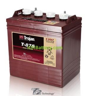 Batería de plomo ácido abierto Trojan para carros de golf T-875 8V 170Ah Ciclo profundo