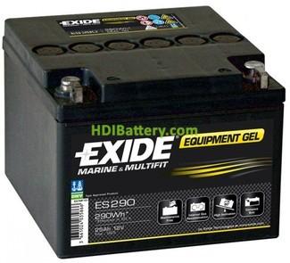 Batería de gel Exide ES290 para carros de golf 12 Voltios 25 Amperios 166x175x125mm
