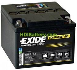 Batería de gel Exide ES290 para caravanas y autocaravanas 12 Voltios 25 Amperios 166x175x125mm