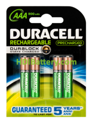 Batería Duracell Recargable Stay-Charged AAA x 4 unid.