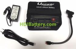 Batería de litio para carro de golf 12v 22ah Upower 12LI22 + Kit de carga para 36 hoyos
