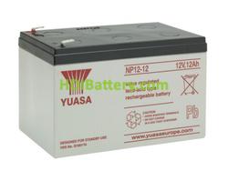 Batería de plomo AGM NP12-12 Yuasa 12 voltios 12 amperios 151mm x 98mm x 97,5mm