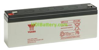 Batería de plomo AGM NP2.3-12 Yuasa 12 voltios 2,3 amperios 178mm x 34mm x 64mm