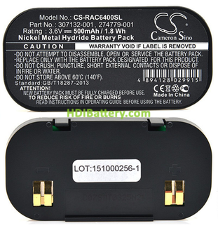 Batería ordenador portátil 3.6V 500mAh Batería para RAID HP Compaq, 201201-001, 201201-371
