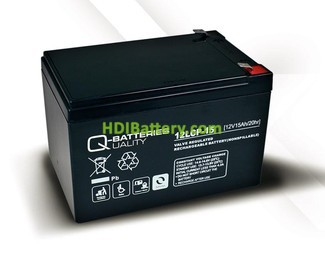 Batería para Bicicleta eléctrica 12v 15ah Plomo agm 12LCP-15 Q-Batteries