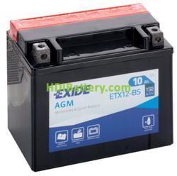 Batería AGM Exide moto ETX12-BS 12 Voltios 10 Amperios 150x87x130mm