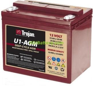 Batería AGM Trojan U1-AGM 12V 33Ah Ciclo profundo
