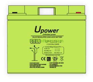 Batería Carbono - Gel 12 Voltios 55 Amperios UP-CG55-12