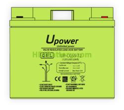 Batería Carbono - Gel 12 Voltios 55 Amperios UP-CG55-12 para energía solar