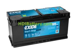 Batería de arranque AGM Exide 12V 105ah EK1050