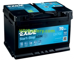 Batería de arranque AGM Exide 12V 70ah EK700