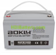 Batería de GEL 12 Voltios 100 Amperios AOKLY POWER 6GFM100G (330X172X214 mm (hasta el terminal 243 mm))