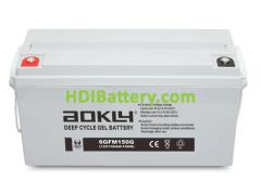 Batería de GEL 12 Voltios 150 Amperios AOKLY POWER 6GFM150G (483X170X240 mm (hasta el terminal 240 mm))