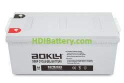 Batería de GEL 12 Voltios 250 Amperios AOKLY POWER 6GFM200G (522X240X218 mm (hasta el terminal 244 mm))