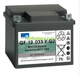 Batería de gel 12 Voltios 33 Amperios Sonnenschein GF12033YG2 210mm (L) x 175mm (An) x 175mm (Al)