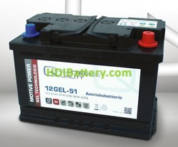 Bater�a de gel 12 Voltios 51 Amperios Q-Batteries 12GEL-51 276mm x 175mm x 190mm