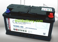 Batería de gel 12 Voltios 65 Amperios Q-Batteries 12GEL-65 352mm x 175mm x 190mm