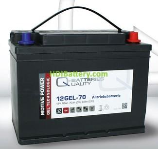 Batería de gel 12 Voltios 83 Amperios Q-Batteries 12GEL-70 308mm x 175mm x 225mm