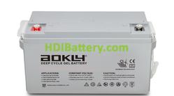 Batería de GEL 12 Voltios 75 Amperios AOKLY POWER 6GFM75G (260X168X210 mm (hasta el terminal 227 mm))