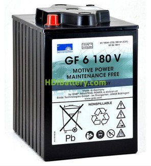 Batería de gel 6 Voltios 180 Amperios Sonneschein GF06180V 244mm x 190mm x 275mm