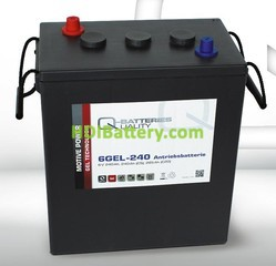 Batería de gel 6 Voltios 240 Amperios Q-Batteries 6GEL-240 311mm x 181mm x 360mm