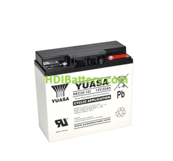 Batería de plomo AGM 12 Voltios 22 Amperios 181x77x167 mm Yuasa REC22-12I