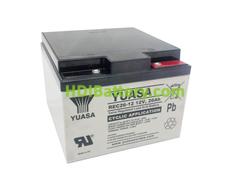 Batería de plomo AGM 12 Voltios 26 Amperios 166x175x125 mm Yuasa REC26-12I