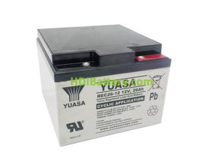 Batería de plomo AGM 12 Voltios 26 Amperios Yuasa REC26-12I