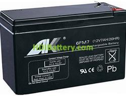 Batería de plomo AGM 12 Voltios 7 Amperios AOKLY POWER 6FM7 (151X65X94mm)