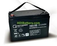 Batería de plomo AGM cíclica 12v 107Ah 12LC-100 Q-Batteries