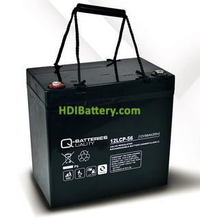 Batería de plomo AGM cíclica 12v 56Ah 12LCP-56 Q-Batteries