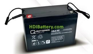 Batería de plomo AGM cíclica 12v 93Ah 12LC-92 Q-Batteries