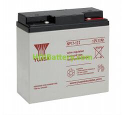 Batería de plomo AGM NP17-12I Yuasa 12 voltios 17 amperios 181mm x 76mm x 167mm