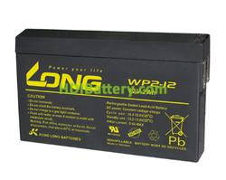 Batería de plomo AGM WP2-12 Long 12 Voltios 2 Amperios 150mm x 20mm x 89mm