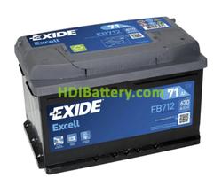 Batería Exide EB712 12 Voltios 71Ah 670A (EN) 278 X 175 X 175 mm
