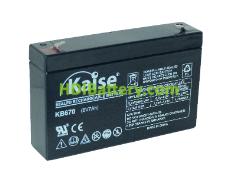 Batería Kaise AGM VRLA 6 Voltios 7 Amperios F1 KB670