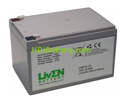 Batería LiFePO4 12.8 Voltios 12 Amperios Liven Battery 152x100x96 mm