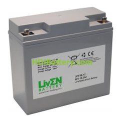 Batería LiFePO4 12.8 Voltios 18 Amperios Liven Battery 181x76.5x166 mm