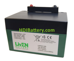 Batería LiFePO4 12.8 Voltios 20 Amperios (GOLF) + CARGADOR Liven Battery 168x128x102 mm