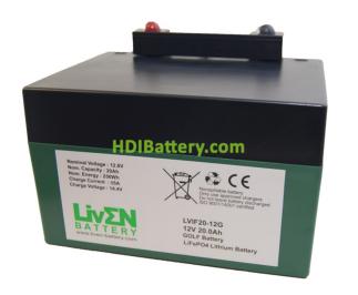 Batería LiFePO4 12.8 Voltios 20 Amperios (GOLF) + CARGADOR Liven Battery 168x128x102 mm