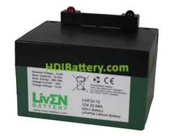 Batería LiFePO4 12.8 Voltios 22 Amperios (GOLF) + CARGADOR Liven Battery 168x128x102 mm