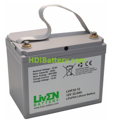 Batería LiFePO4 12.8 Voltios 32 Amperios Liven Battery 194x130x162 mm