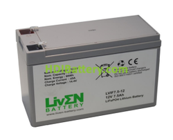 Batería LiFePO4 12.8 Voltios 7.5 Amperios Liven Battery 152x65x94 mm