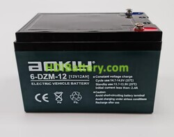 Batería para bicicleta eléctrica 12 Voltios 12 Amperios AOKLY POWER 6-DZM-12 (151X99X98mm)