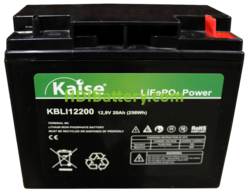Batería para buggie de gol LiFePO4 12.8 Voltios 20 Amperios Kaise KBLI12200 181.5x77x167.5 mm