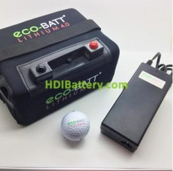 Bateria de litio para carro de golf 12V 16AH + kit de carga. Equivalente a 26/30 Ah de acido o gel Eco-Batt