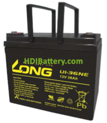 Batería para grúa ortopedia 12V 36Ah Long U1-36NE