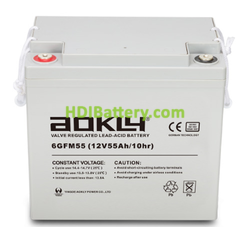 Batería para grúa ortopedia 12V 55Ah GEL Aokly Power 6GFM55G