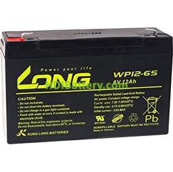 Batería para luces de emergencia 6V 12Ah Long WP12-6S