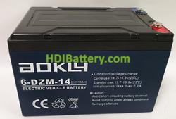 Batería para moto eléctrica 12V 14Ah Aokly Power 6-DZM-14